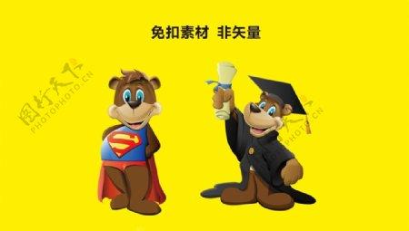 超人小熊博士小熊图片