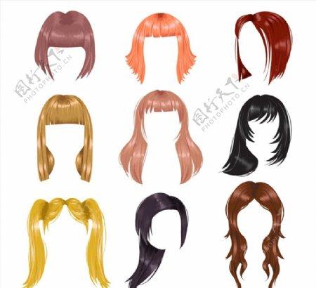 彩色女子发型图片