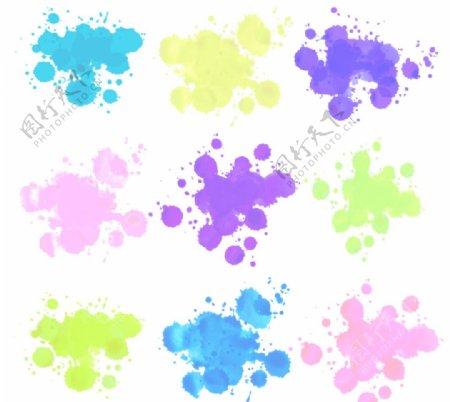 彩色墨迹泼墨素材图片