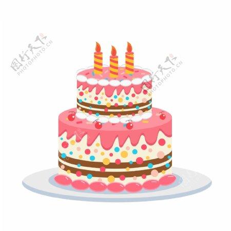 卡通手绘草莓奶油生日蛋糕图片