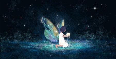 少女翅膀夜晚插画背景海报素材图片
