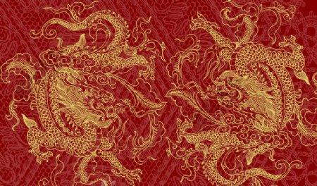 龙纹复古金色插画背景素材图片