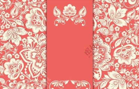 白色花卉红底卡片图片