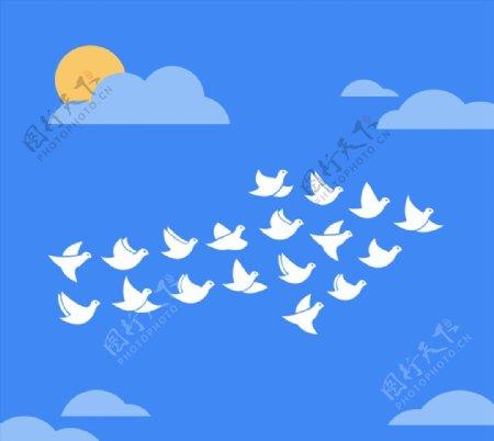 蓝天下的白鸽群图片