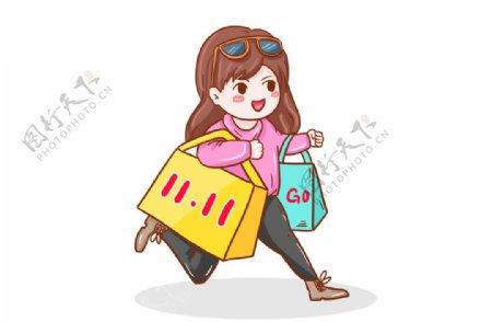 卡通女生购物元素图片