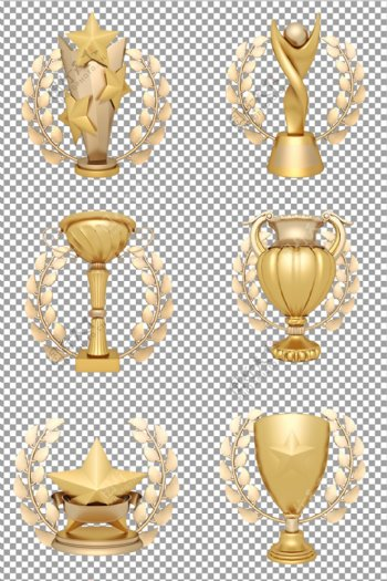 麦穗围绕的金色奖杯图片