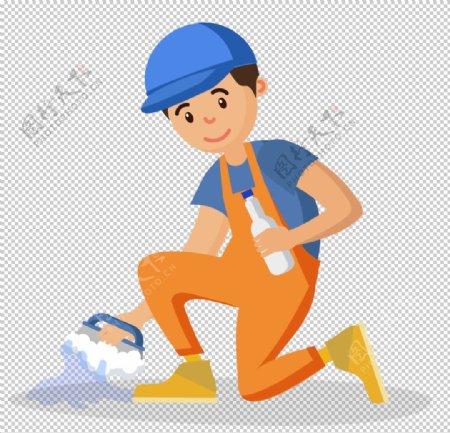 男清洁工工作矢量插画图片