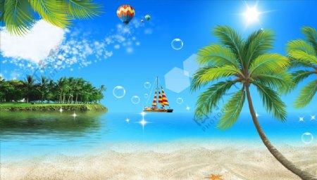 海边椰树帆船气球背景墙图片