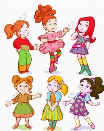 卡通女孩设计矢量图片