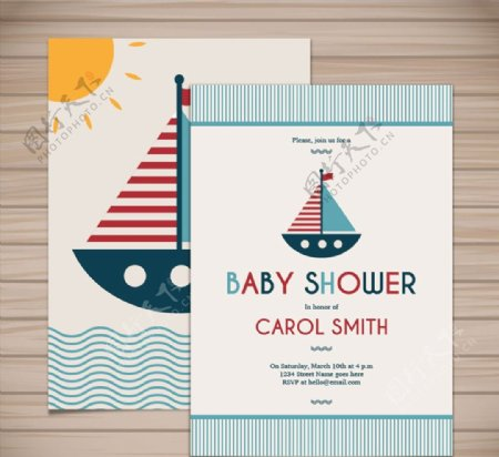 帆船迎婴派对卡片图片