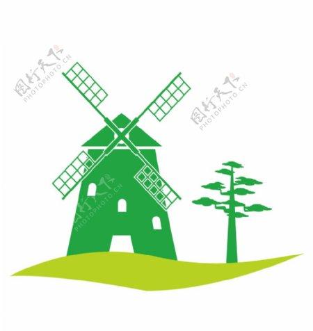 绿色卡通荷兰风车图片