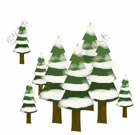 松树下雪元素图片