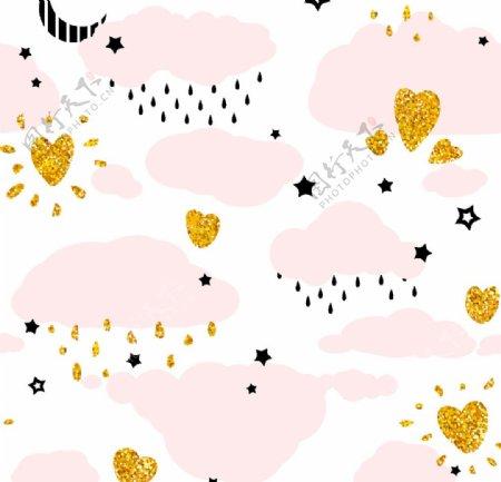 粉色云朵平铺图案图片