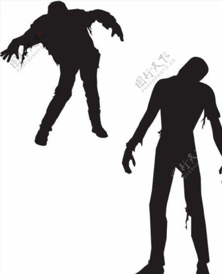 僵尸人物剪影图片