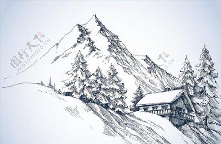 雪山脚下房屋素描图片
