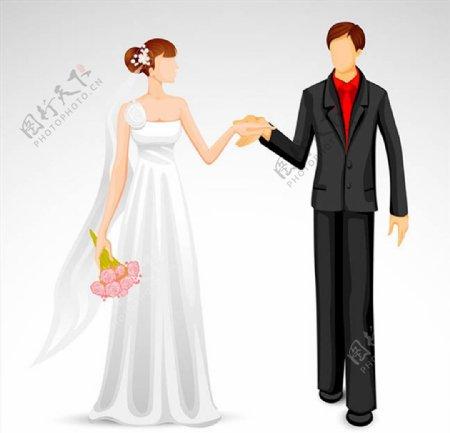 手牵手的新郎新娘图片