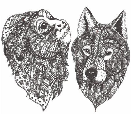 动物图腾抽象图案图片