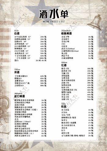 怀旧工业风菜单酒水单海报图片
