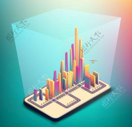 矢量蓝色科技抽象城市背景元素图片