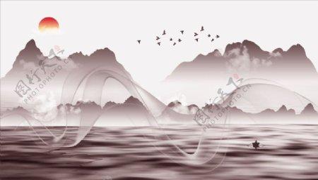 水墨山水飘带大雁太阳图片