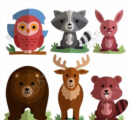 扁平化可爱动物图片