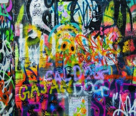 彩色人像蜜蜂文字涂鸦装饰墙体画图片