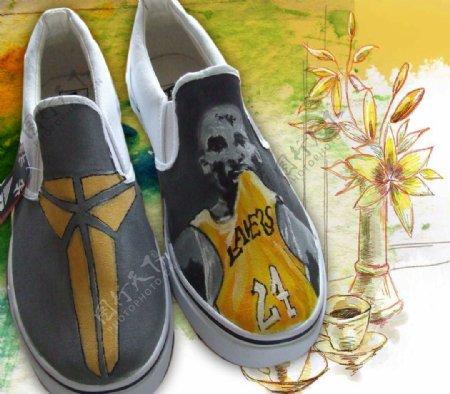 纪念科比手绘鞋设计样图图片