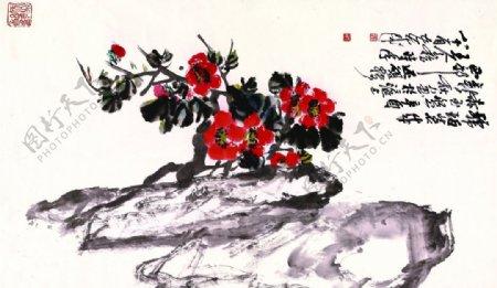 吴昌硕红花图片