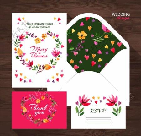 精美花卉婚礼卡片图片