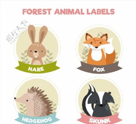 可爱动物标签图片