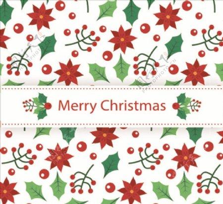 创意圣诞节植物无缝背景矢量素材图片