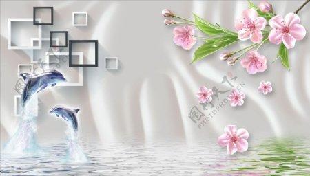 海豚梅花水波纹背景墙图片