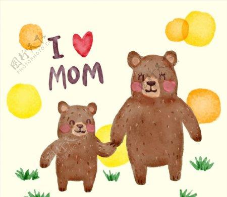 牵手的熊母子图片