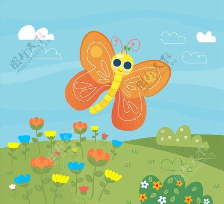 卡通大眼睛蝴蝶图片