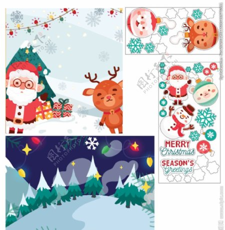 圣诞老人卡通小鹿森林雪地装饰图图片