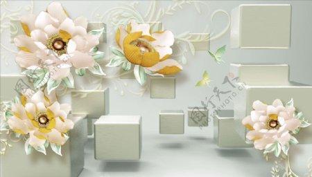 浮雕花牡丹花背景墙图片