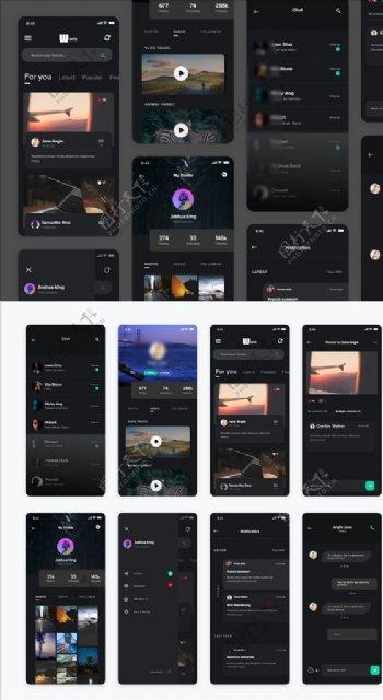 xd新闻暗黑风格UI设计搜索页图片
