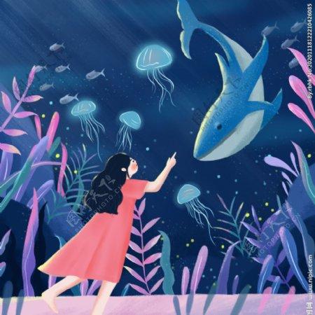 梦幻鲸鱼女孩与日落治愈系插画图片