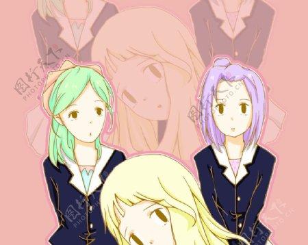 三个女生图片