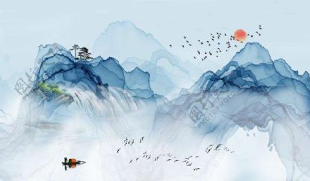 新中式抽象山水图片