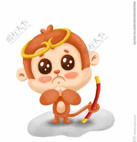 可爱小猴子插画我错了图片