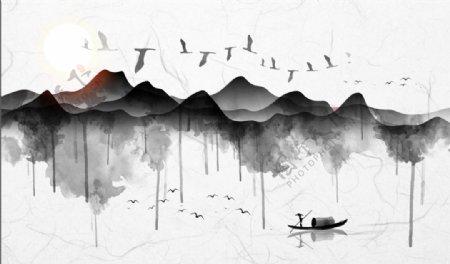 创意个性水墨黑白山水电视背景墙图片