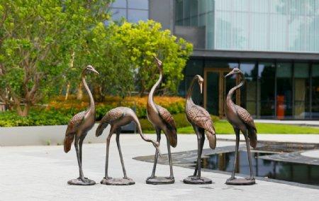 园林景观装饰仿铜仙鹤雕塑摆件图片