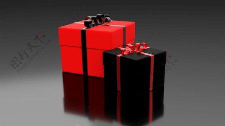 红色黑色礼品盒图片