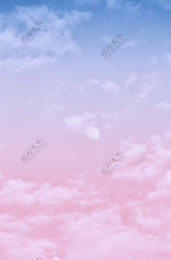 蓝粉色天空图片