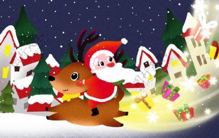 圣诞老人骑麋鹿图片
