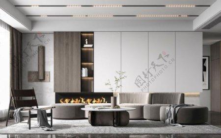 灰色调客厅图片