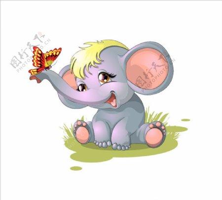 手绘卡通大象图片