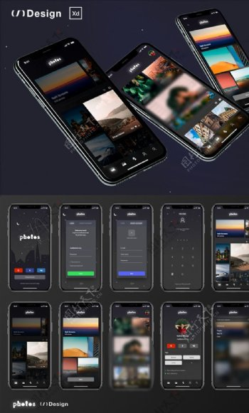 xd图片管理暗黑色UI设计登录