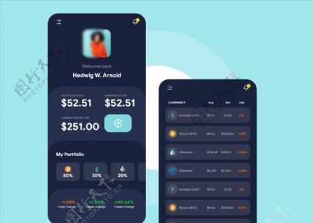 xd数字货币钱包暗黑UI设计首图片
